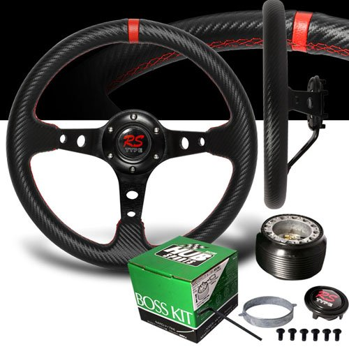 1996-2000 Honda Civic Red Stitches Carbon Drift Style Steering Wheel with Hub Adaptor ()
