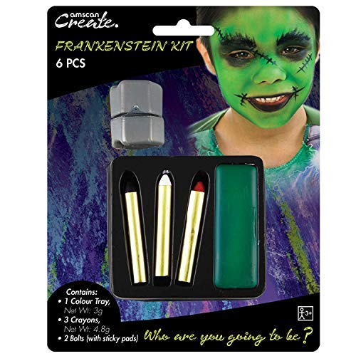 Childrens Boys Frankenstein Monster Make Up Face Paint Kit with Bolts Halloween Fancy Dress Costume Outfit Accessory ()