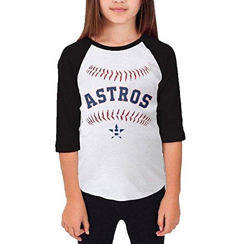 Price comparison product image Hotboy19 Youth Girls Houston Sport Baseball Logo Raglan Baseball T Shirt Black Size S