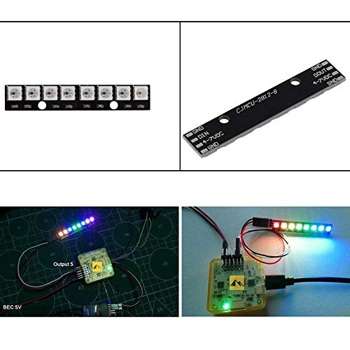 Comidox 2PCS WS2812 5050 RGB 8 LEDs Light Strip Driver Board 8 Channel Built-in Full Color-Driven Development Board Black for Arduino by Comidox (Image #2)