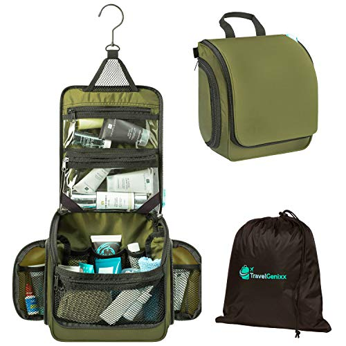 Hanging Toiletry Travel Bag | Perfect for Individual, Couple or Family Use | Ideal for Travel & Camping (Dark Khaki)