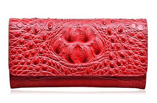 - PIJUSHI Women Leather Wallet Embossed Crocodile Clutch Wallet Card Holder Organizer (8013 red)