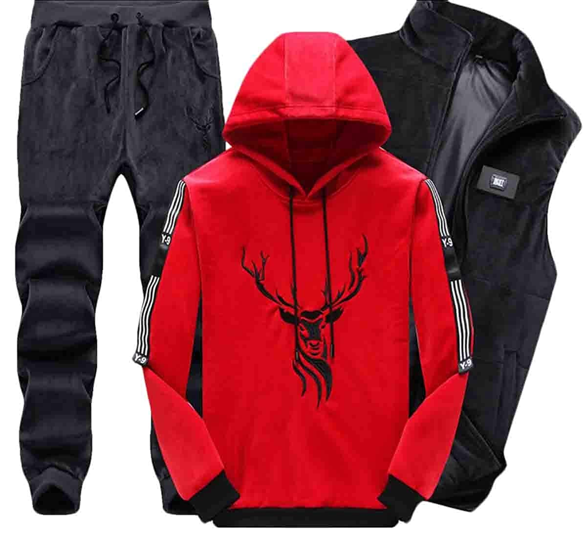 Esast Men's Warm Hoodies Sweatshirts Vest and Pants Outfit Tracksuit