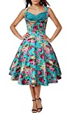 TowerTree Women 50s60s Floral Print V Neck Rockabilly Swing Retro Dresses Pin Up