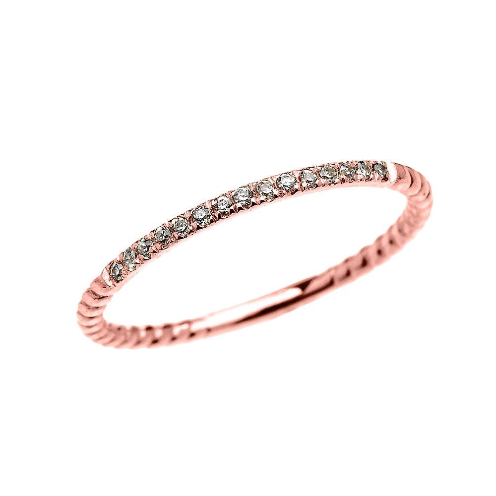 10k Rose Gold Dainty Diamond Stackable Rope Design Ring(Size 8)