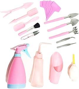 Chiloskit 19 Piece House Plant Tools Succulent Garden Hand Tools Miniature Garden Planting Transplanting Tool Set (Pink)