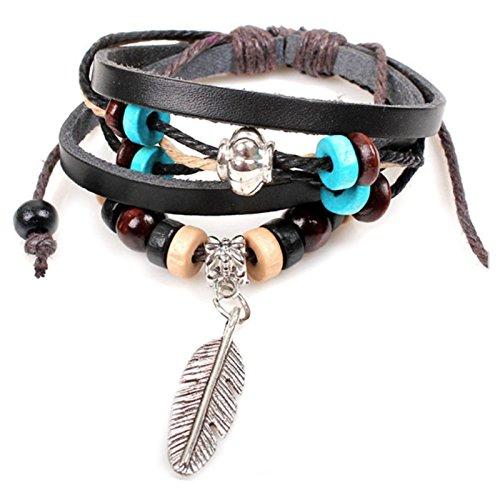 Dreamcatcher Indien Plume Pendentif Collier + Bracelet Tribal En Cuir Marron