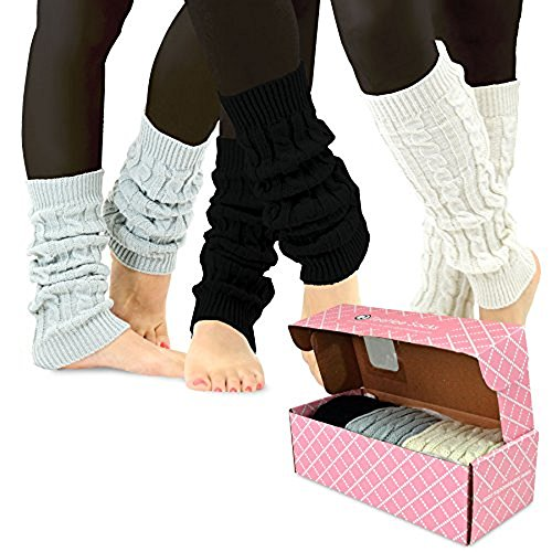 TeeHee Gift Women's Fashion Leg Warmers 3-Pack Assorted Colors (Cable Knit with Rib)