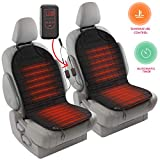 #7: Zento Deals 2pc. Black Heated Car Seat Cushion with 1 Integrated Plug Adjustable Temperature Heating Pad Pain Reliever 12V- New Upgraded Version for 2019, Safer Nonflammable UL Wiring