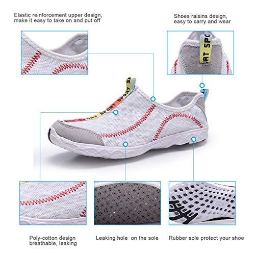 WallyDeals Damen Outdoor Mesh Slip On Running Water Schuhe Schwimmen Sea Athletic Sneakers für Frauen Weiß
