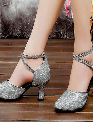 ShangYi Women's Dance Shoes Latin Satin Chunky Heel Black/Silver/Gold Silver ItGhDvOl