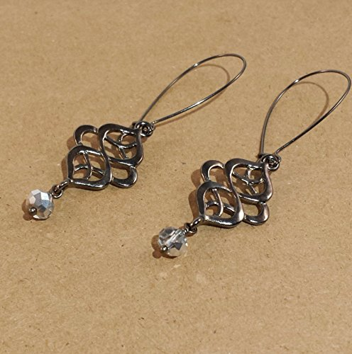 Gun Metal Knots with hand-wrapped silver (Handwrapped Crystal)