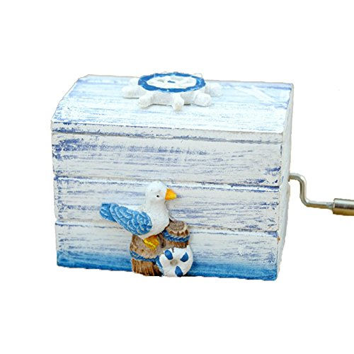 Wooden Hand Crank Wooden Music Box Gift for Christmas Birthday Valentine's Day Children Girl and Boy with Mediterranean Style Seagull (Boys Valentines Boxes)