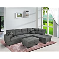 Lifestyle Furniture Siano Right Hand Facing Sectional Sofa, Gray