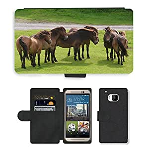 PU LEATHER case coque housse smartphone Flip bag Cover protection // M00129717 Potros Manada de caballos Grupo Animal // HTC One M9