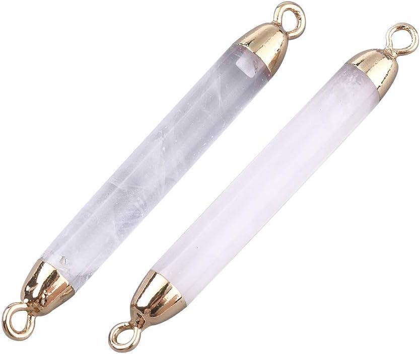 CHGCRAFT 5 Piezas de Columna de Cristal de Cuarzo con Hallazgos de Hierro Dorado Enlaces de Gemas de Curación de Piedra Natural para Mujeres Pulseras de Collar Fabricación de Joyas Manualidades DIY A