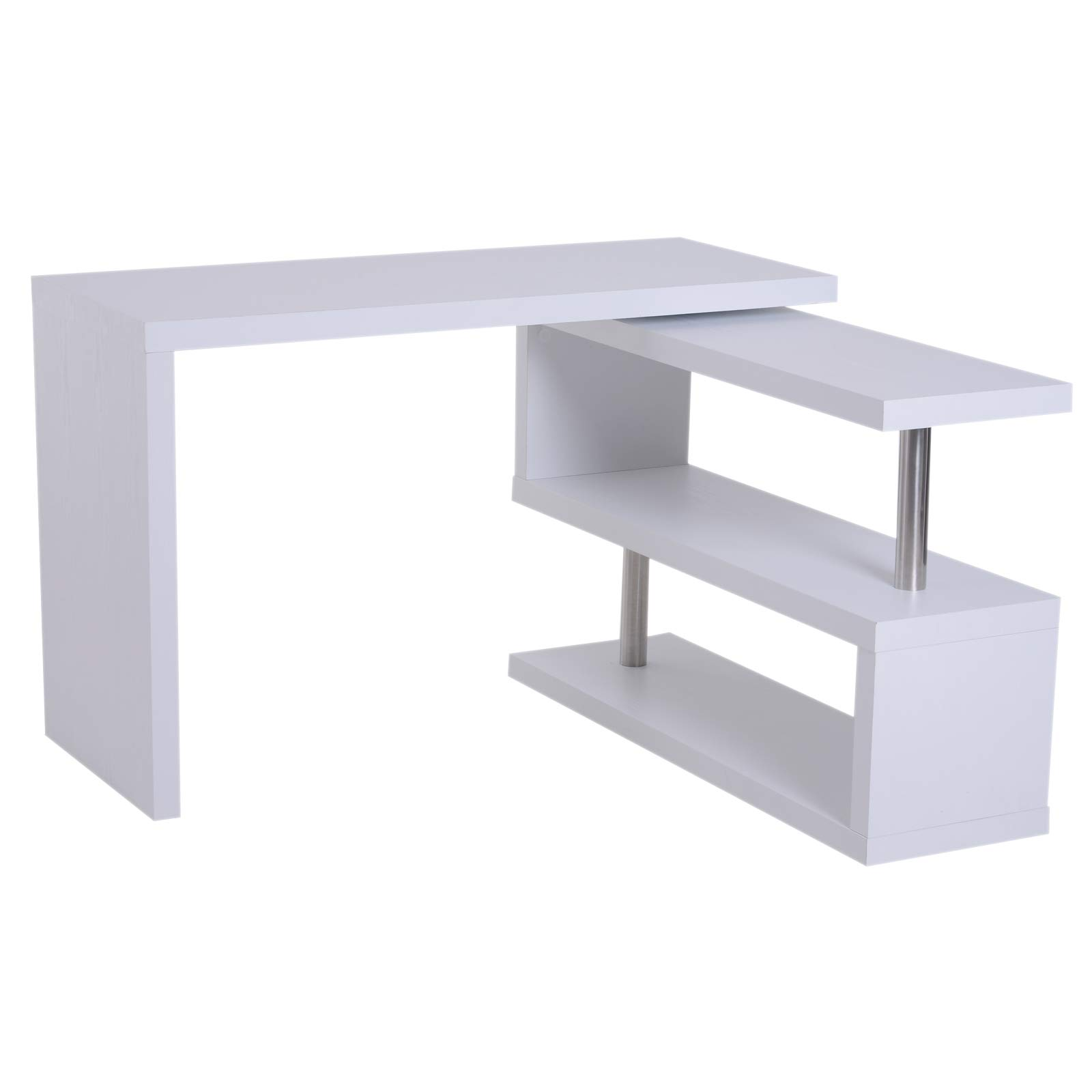 HomCom 75'' 2 Tier L-Shaped Rotating Versatile Computer Desk With Shelves And Steel Frame - White by HOMCOM
