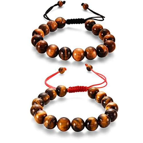 2pcs Braided String Beads Bracelets, Natural AA 10mm Yoga Prayer Mala Tiger Eye Beads Macrame Adjustable Stretch Bracelet For Men (HS002-2Pcs)