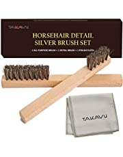 TAKAVU Horsehair Detail Brush Set, 2 Silver Cleaning Brushes and Polish Cloth for Detail Polish Work, Fine and Heirloom Silverware, Plateware, Jewelry