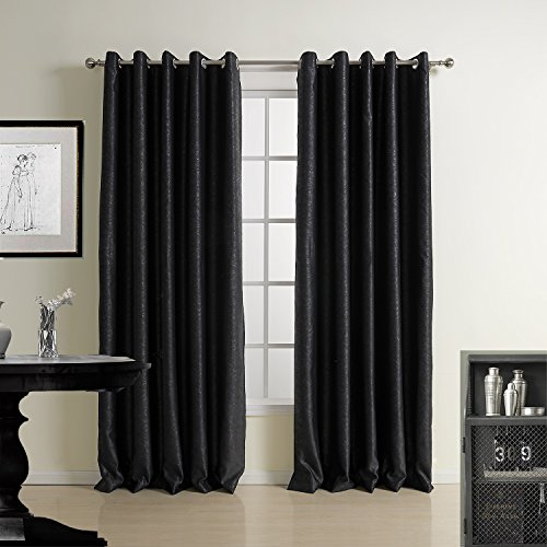 Black Thermal Curtain For Bedroom - KoTing 1 Panel Blackout Leather Texture Drape Grommet Top 42 by 63-Inches
