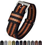 BARTON Jetson NATO Style Watch Strap - 18mm 20mm 22mm or 24mm - Black/Orange 24mm Nylon Watch Band