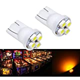 PA 25PCS #555 T10 4SMD LED Pinball Machine Light Bulb Yellow(Orange/amber)-6.3V