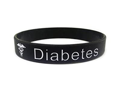 Butler & Grace T1 Diabetes wristband medical alert ID bracelet type 1 one T1D diabetic black white silicone band by UaTTKNJf1