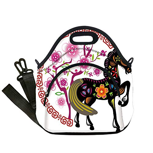 Insulated Lunch Bag,Neoprene Lunch Tote Bags,Horse Decor,Chinese New Year Celebration Floral Horse Blooming Sakura Tree Festive Design Decorative,Multicolor,for Adults and children -