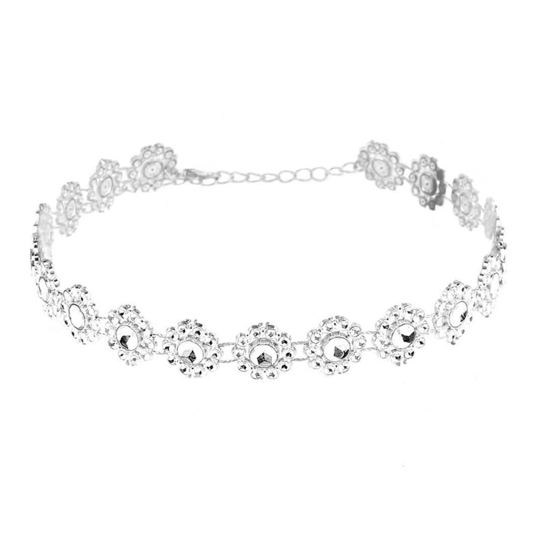 Cuekondy Women Girls Diamond Crystal Rhinestone Choker Statement Necklace Wedding Party Jewelry