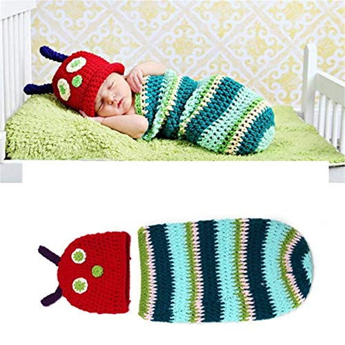 LERORO Toddler Christening Infant Newborn Rainbow Caterpillar Handmade Crochet Photography Prop Sleepwear Swaddle Wrap Sack Baby Boys Cosplay Costume Kids Clothing Sets (1-12 Months) -