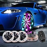 LEADTOPS Car Tire Wheel Lights,4 Pack Solar Car Wheel Tire Hub Light Motion Sensors Colorful LED Tire Flashing...