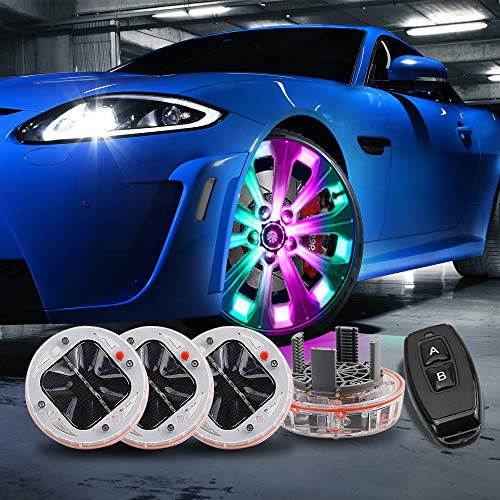 LEADTOPS Car Tire Wheel Lights,4 Pack Solar Car Wheel Tire Hub Light Motion Sensors Colorful LED Tire Flashing Colorful Exterior Lights Remote Control ... (Flashing Flash Wheel Lights For All Cars)