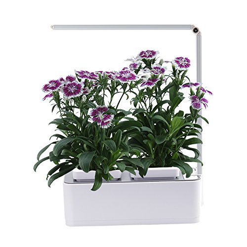 Indoor Herb Garden, AIBIS Hydroponics Watering Growing System, Organic Home Herbs Gardening Kit with Led Grow Light, Not Contain Seeds, Best for Flower and Vegetable like Thyme, Mint and Tomato(White) - Organic Hydroponic Gardening