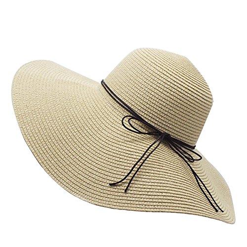 YUUVE Ladies Summer Straw Hat Fedora Floppy Sun Hat Large Wide Brim Beach Cap For Women(Free Ribbon (Fedora Hat Ladies)