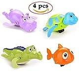 Colorful Bath Toys Set, Clockwork Animals toys Turtle Crocodile Hippo Fish Swimming Pool Bathtub Toys for Kids 4PCS