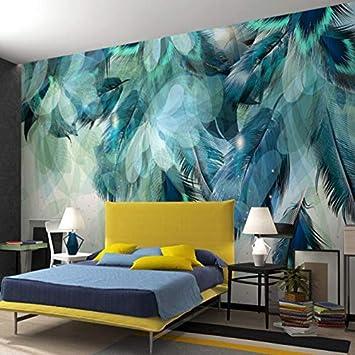 Personnalise Nordique Minimaliste Bleu Plume Murale Moderne