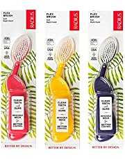 RADIUS - Scuba Right Hand Toothbrush Soft Bristles Flex-Neck Technology that Reduces Pressure on Teeth and Gums Made with Sustainable Materials (Assorted Colors Pack of 3)