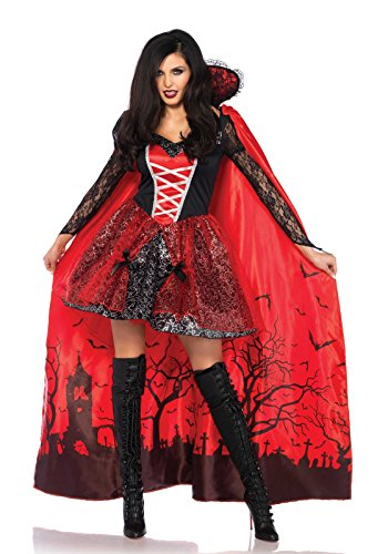 Halloween Vampire Cartoons (Leg Avenue Women's Sexy Vampire Temptress Costume, Black/red,)