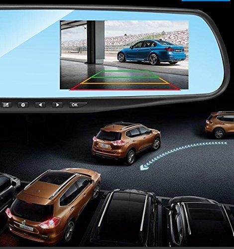 HAOYISHANG Double Dual DVR Auto Recorder Dash 1080P 4.2 Zoll Monitor Kamera für Front und hinten Fahrzeuge Rückansicht mit H1688 HD Spiegel Apoyo Inglés, ...