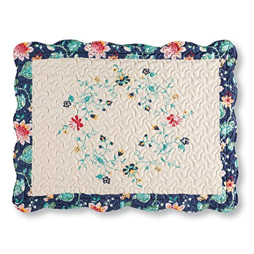 Collections Etc Felicity Multicolored Floral Diamond Ivory Pillow Sham with Scalloped Edges and Navy Border - Microfiber Bedding