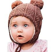 Twinklebelle Baby Toddler Kids Fall Winter Ear-Flap Beanie Hat (M: 6-24 Months, Brown Bear)