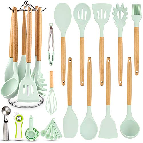 Silicone Kitchen Cooking Utensil Set, EAGMAK 16 Pcs Kitchen Utensils Spatula Set with Stainless Steel Stand for Nonstick Cookware, BPA Free Non Toxic Cooking Utensils, Great Kitchen Gadgets Tools Gift