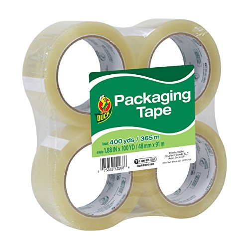 Box Packing Tape (Duck Tape Brand Standard Packaging Tape Refill, 4 Rolls, 1.88 Inch x 100 Yards (240593))