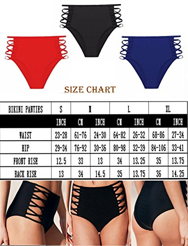 f6ae151d9b7ec COLO Women Sexy Bikini Bottoms Lace Strappy Sides High Waisted Retro Bathing  Suit Underwear Swimsuit