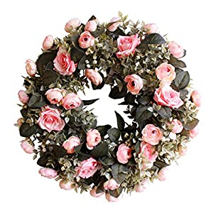 "Evoio Artificial Flower Wreath, 17.7""/45cm Artificial Rose Wreaths DIY Silk Flowers Garland Pendant for Front Door Wall Home Wedding Decoration Circular (Pink) 90"