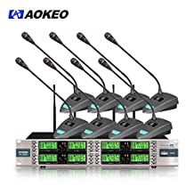 Aokeo AK-8000 8 Channel Wireless Microphone System with 8 Wireless Table Top Lavalier Microphone