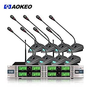 aokeo ak 8000 8 channel wireless microphone system with 8 wireless conference table. Black Bedroom Furniture Sets. Home Design Ideas