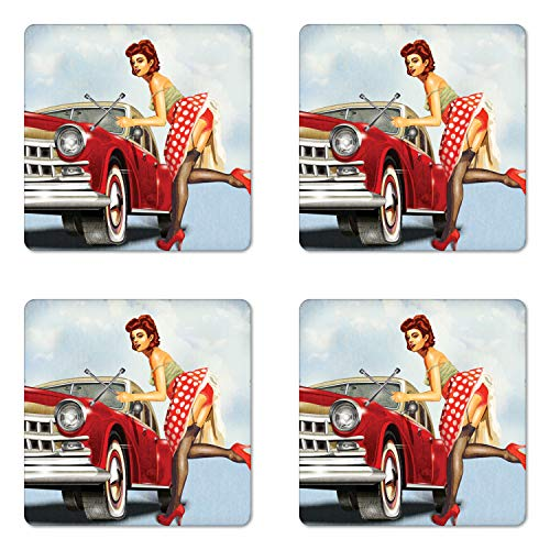 Polka Dot Party Coasters - Ambesonne Pin up Girl Coaster Set of Four, Retro Girl with Polka Dot Patterned Midi Skirt Fixing Classic Red American Car, Square Hardboard Gloss Coasters for Drinks, Multicolor
