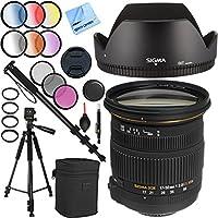 Sigma 17-50mm f/2.8 EX DC OS HSM FLD Zoom Lens for Nikon Digital DSLRs with 77mm Filter Sets Plus Pro Tripod Accessories Bundle