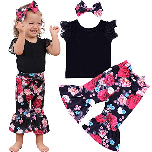 - ZOEREA Baby Toddler Girls Floral Outfit 3Pcs Vest Pant with Headband Denim Shorts Clothing Set (Floral Black, Label 80/6-12M)